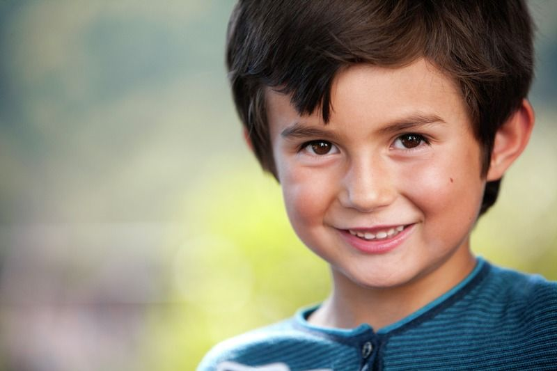 Portrait of a young caucasian boy smiling