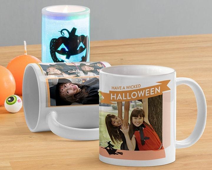 Halloween mugs with embellishments