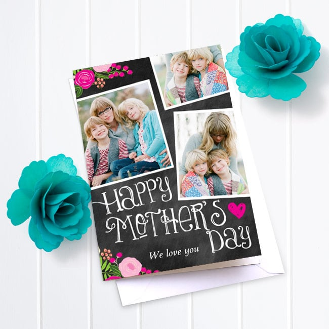 Bright Floral Chalkboard - Mother's Day cards
