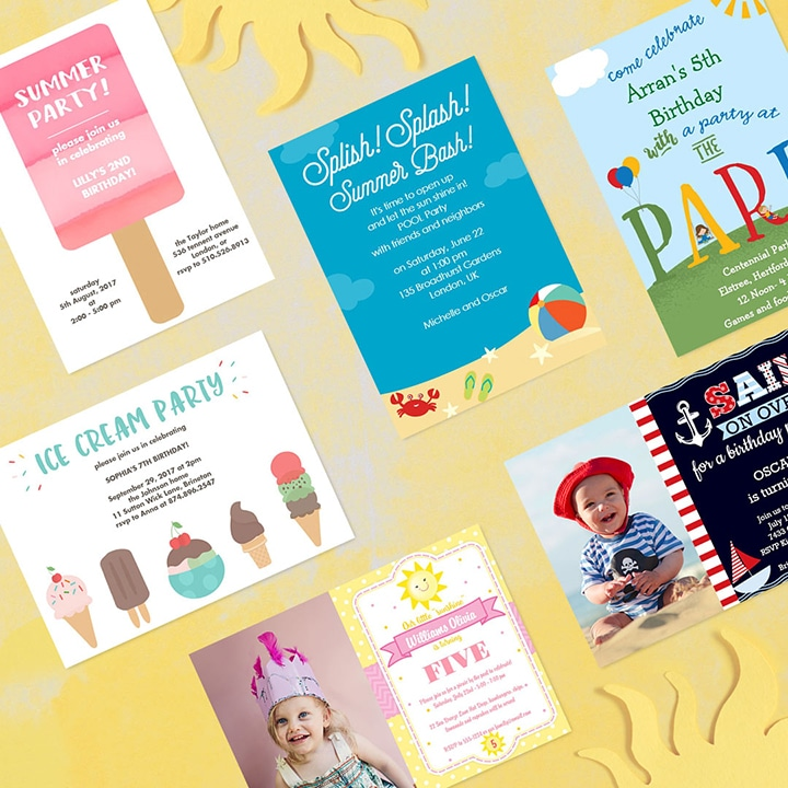 Personalised cards - personalised summer party invitations