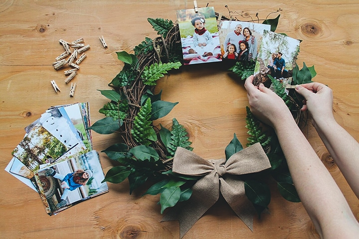 DIY Festive Photo Prints Wreath