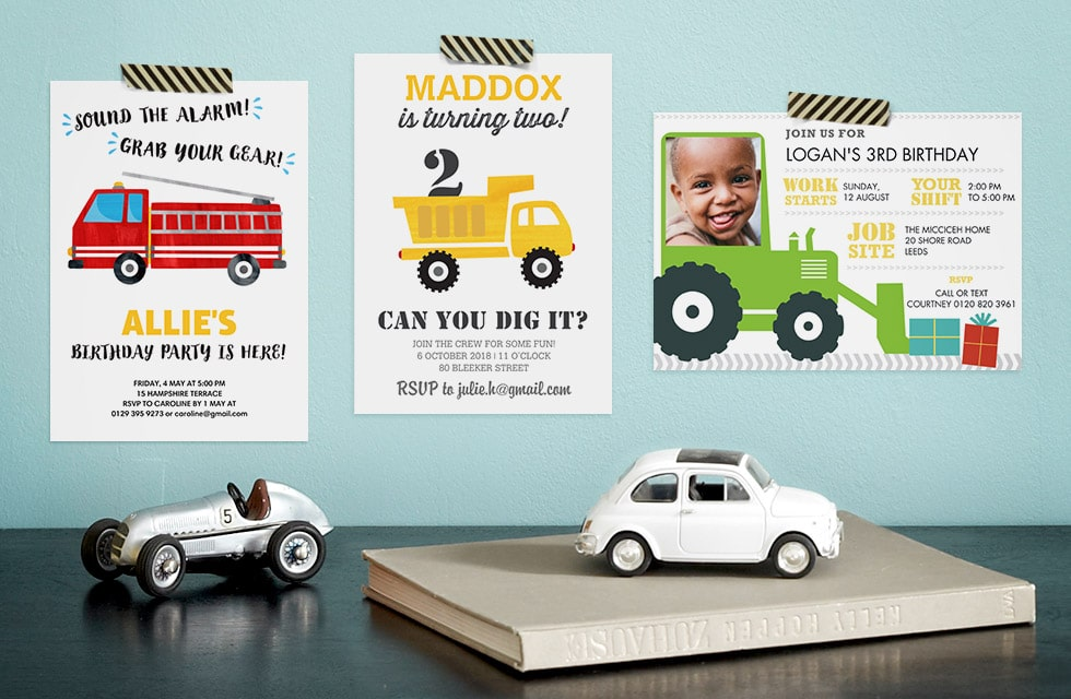 Fun Personalised Party Invitations for Kids - Car themed
