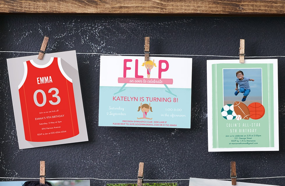 Fun Personalised Party Invitations for Kids - Sports themed