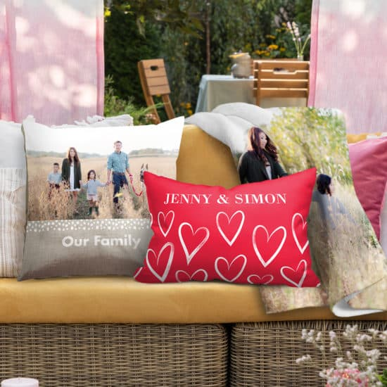 snuggle up outside with custom cushions and blankets