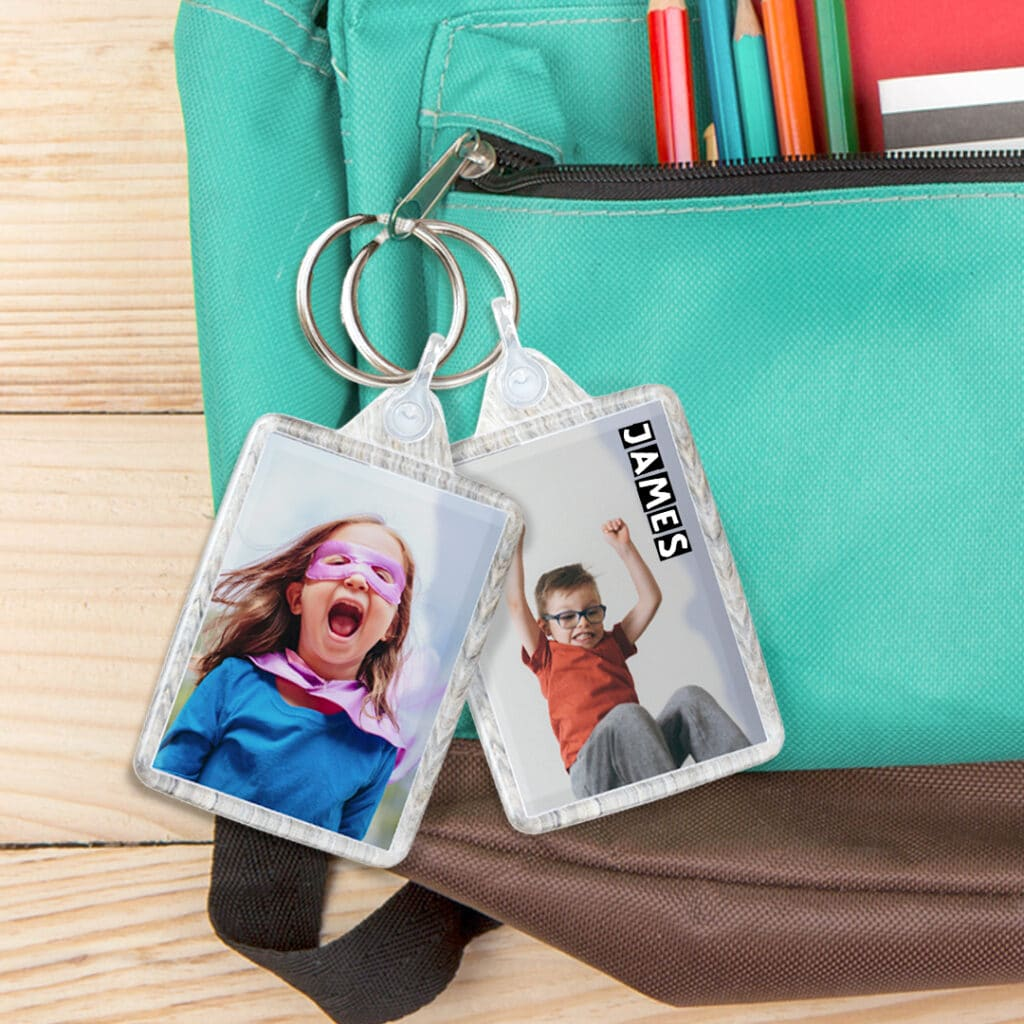 Personallise their school bags with a custom keyring - bag tag
