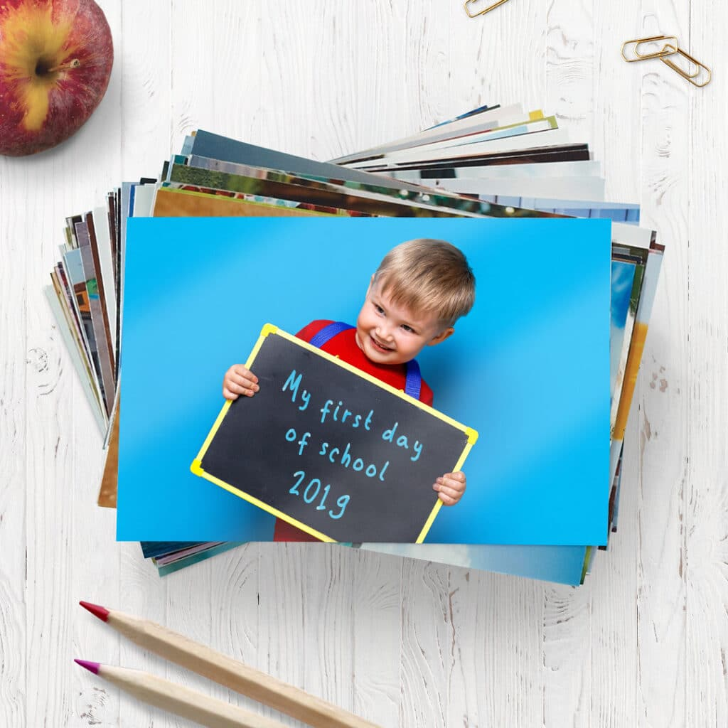 Print and share multiple copies of your child all ready for their first day back at school.