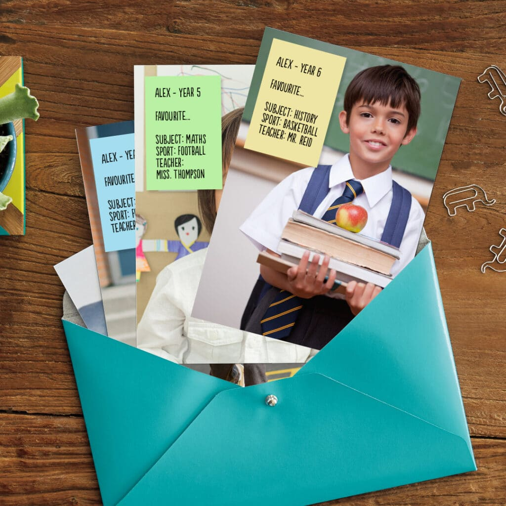 Create custom cards or prints with your child's best school photos and a list of their favourites!
