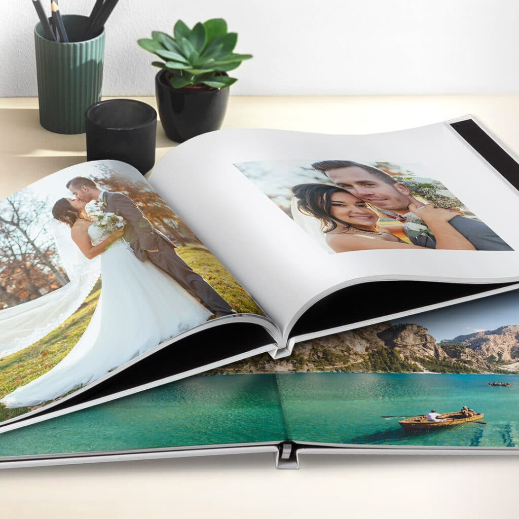 Photo Books can be bound using traditional book binding or layflat style