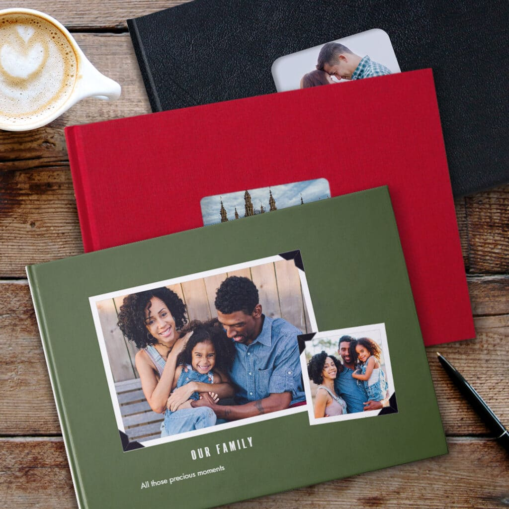 Photo Books can be bound with full photo printed covers or plain leather or linen covers.