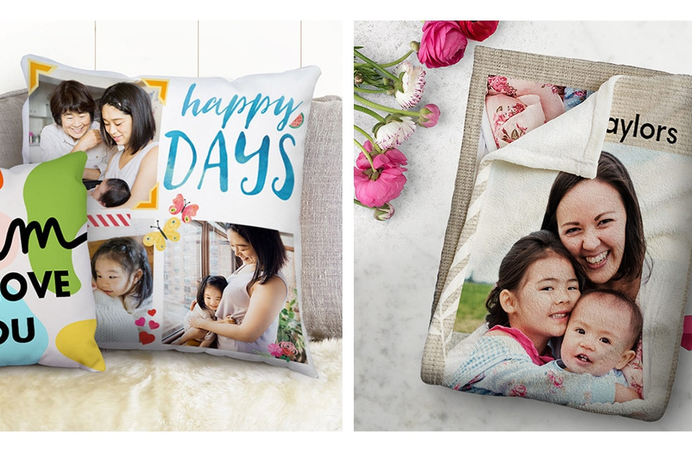 Mother's Day customised cushions and blankets