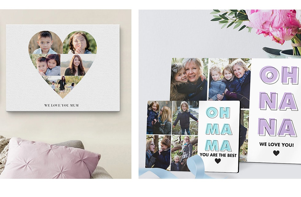 Photo collage prints in the home
