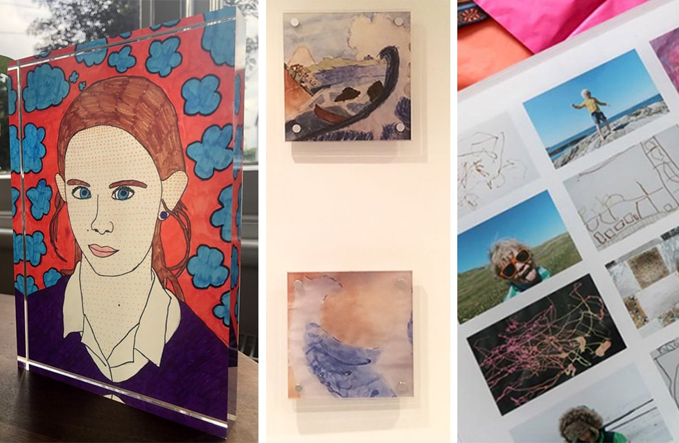 Painting of young woman, Two small abstract paintings on a wall, Gallery of illustrations and photographs