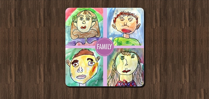 Coaster with illustration of a family