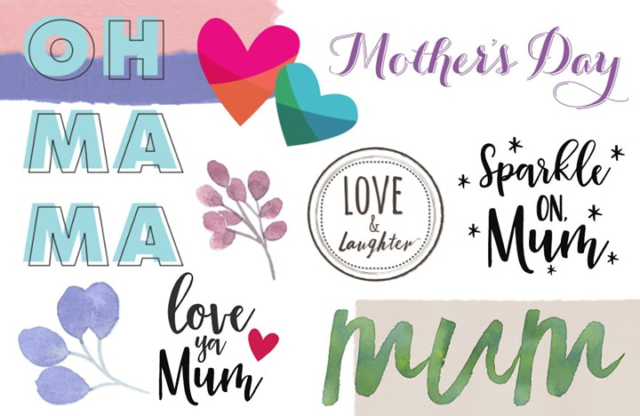 Colourful Mother's Day messages and graphics