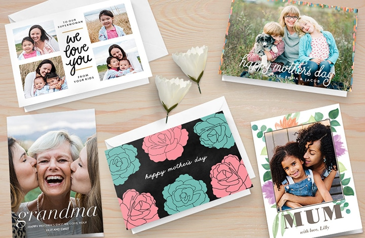 Variety of Mother's Day cards on a table