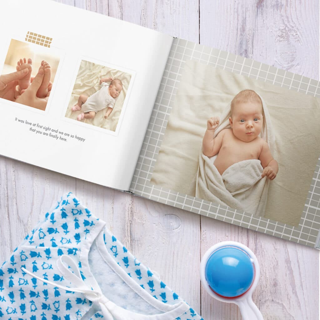 Over the moon baby book designs printed with photos