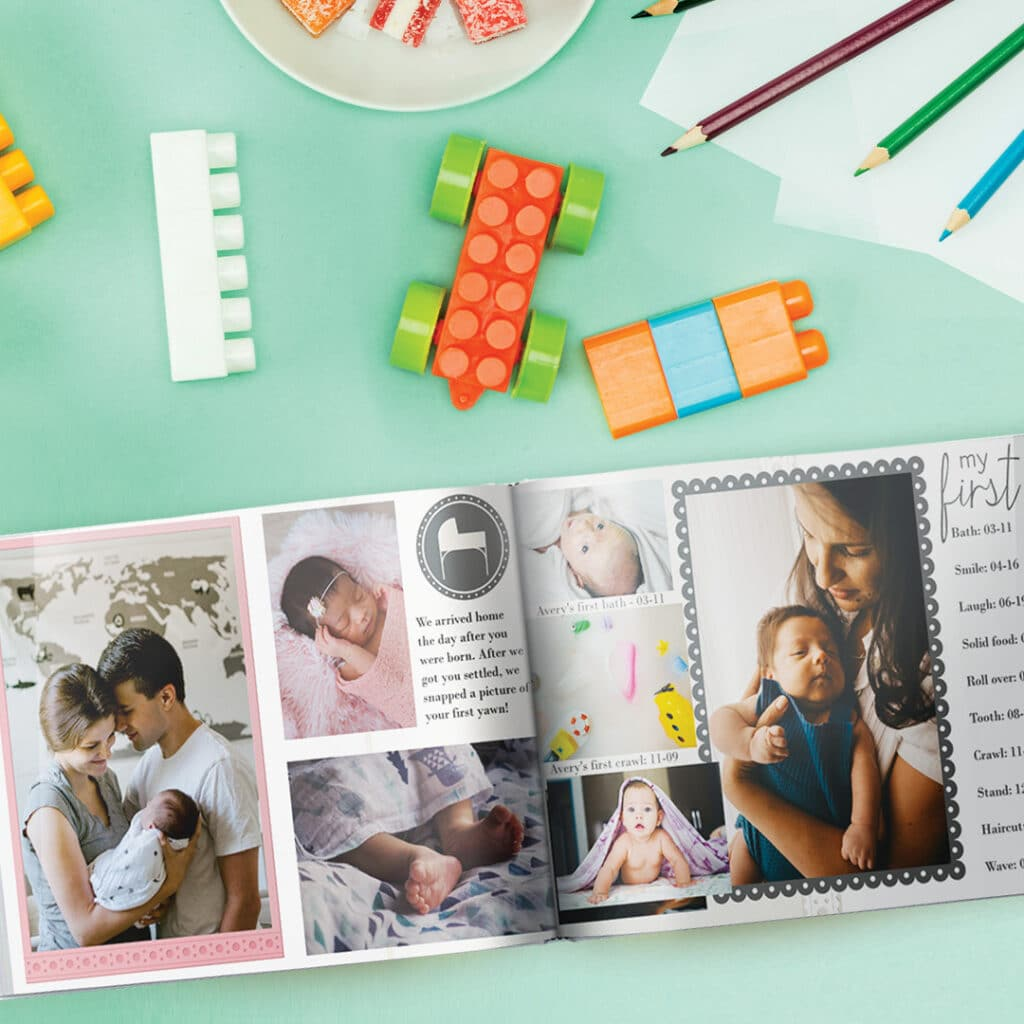 Baby's First Year Photo Book design template for boys